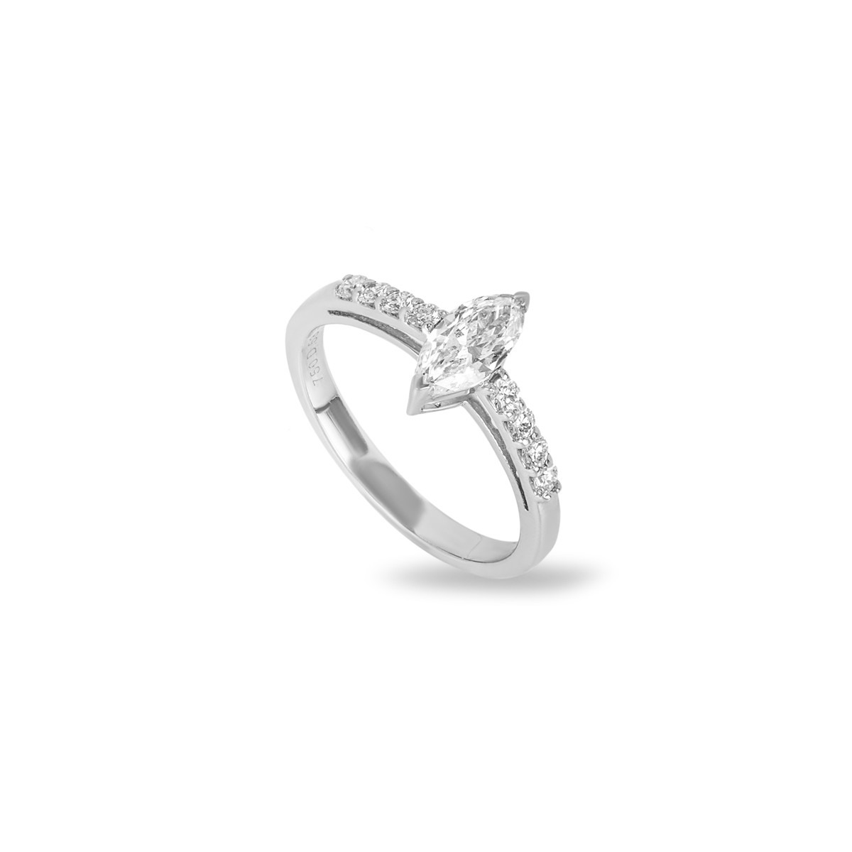 18k White Gold Marquise Cut Diamond Ring 0.53ct I/VS1